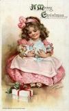 Postcard by Frances Brundage: Victorian girl rocks her doll