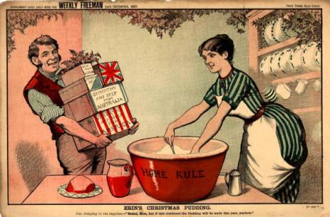 As a British woman mixes her Christmas pudding, her husband arrives with packages from other nations (including America) during World War I