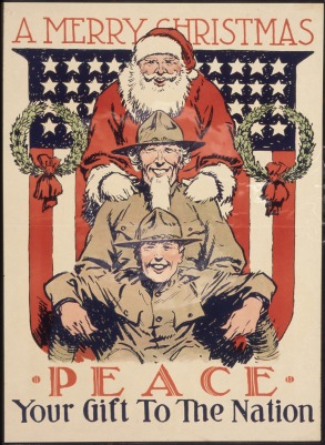 "Santa Claus and two soldiers wish ""Peace"" to the nation as the stars and stripes provide a backdrop"