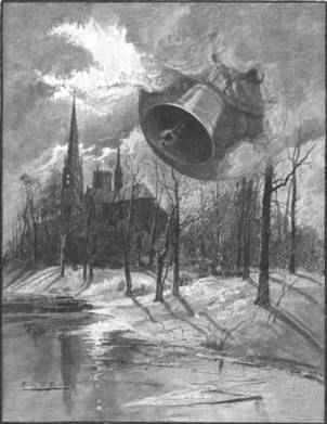 Black and white illustration of large bells ringing across a wild winter landscape